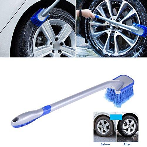 Spazzola multifunzione per la pulizia dei pneumatici, con manico lungo e antiscivolo, spazzola per la pulizia della ruota.