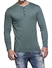 Clifton Mens Henley Full Sleeve T-Shirt-Bottle Green- Melange
