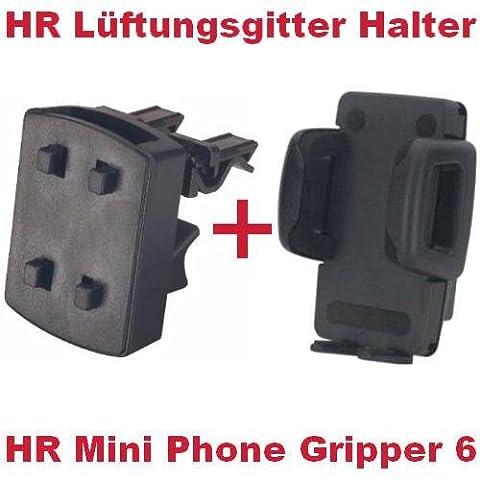 HR Richter Universal Handy Smartphone PDA KFZ Halter Halterung Mini Phone Gripper 6 1245/46 und Lüftungsgitter Halter für Samsung Galaxy Y S5360 S-5360 GT-i6410 i-6410 GT-i6410 i-6410
