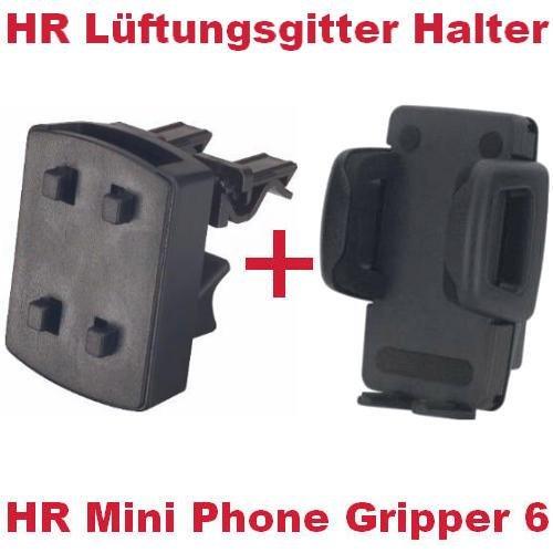 HR Richter Universal Handy Smartphone PDA KFZ Halter Halterung Mini Phone Gripper 6 1245/46 und Lüftungsgitter Halter für HTC Sensation XE Sensation XL Smart T4242 T-4242 T5555 T-5555 T8585