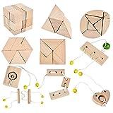 B&Julian  3D IQ Puzzle 10 Mini Holz Puzzlespiel Holzpuzzle Knobelspiele Geduldspiel Set Holzknoten Rätselspiel Geschicklichkeitsspiel Ideen Adventskalender Inhalt