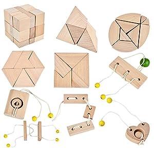51Qj4w9NCsL. SS300  - B&Julian ® 3D IQ Puzzle 10 Mini Holz Puzzlespiel Holzpuzzle Knobelspiele Geduldspiel Set Holzknoten Rätselspiel Geschicklichkeitsspiel Ideen Adventskalender Inhalt
