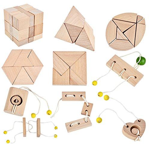 B&Julian ® 3D IQ Puzzle 10 mini Holz Puzzlespiel Holzpuzzle Knobelspiele Geduldspiel Set Holzknoten Rätselspiel Geschicklichkeitsspiel Ideen Adventskalender Inhalt
