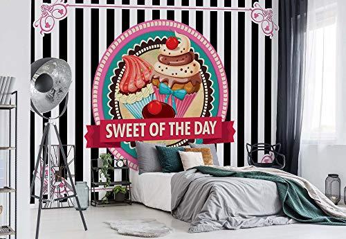 Wallsticker Warehouse Cupcakes Retro Fototapete - Tapete - Fotomural - Mural Wandbild - (2471WM) - XXL - 312cm x 219cm - VLIES (EasyInstall) - 3 Pieces