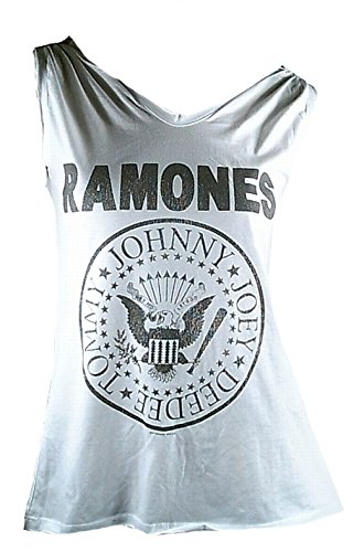 Amplificato Donna Lady Designer Top Shirt colore bianco prodotto ufficiale con licenza ufficiale Hey Ho Let's The Ramones Go You Rock Star sweer ViP Rock Star bianco 42