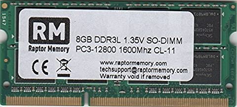 Raptor Memory 8GB (1 x 8GB) DDR3L 1.35V SO-DIMM PC3-12800 1600Mhz Apple PC Notebook Laptop Arbeitsspeicher RAM