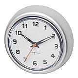 mDesign Reloj de baño con ventosa – Reloj de pared de aluminio inoxidable – El accesorio para el baño perfecto – Colocación sencilla en la pared de la ducha o en los azulejos – Color: plateado