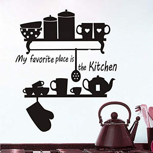 Mein Lieblingsplatz ist die Küche Teekanne Tasse Geschirr Regal zitieren Wandaufkleber Home Decor große Wandbilder dekorieren Vinyl abnehmbare 58x70cm (Für Halloween-billig Dekorieren)