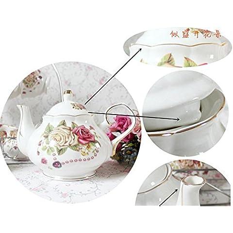 set da tè European Style China Di Osso, Amore Rosa Stampato In Ceramica Porcellana Tazza Di Tè Insieme Con Coperchio E Piattino, supporto metallico nella foto non è incluso