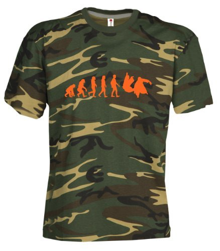 Camouflage Classic Army Style T-Shirt Kurzarm in Tarnfarbe Bedruckt mit Evolution Aikido in NEON Orange