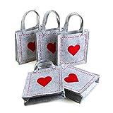 5 kleine HERZ FILZTASCHEN rot grau Geschenktaschen 18 x 20 x 5 cm mit Henkel Geschenkbeutel Hochzeit Geburtstag Weihnachten Valentinstag VERPACKUNG Muttertag
