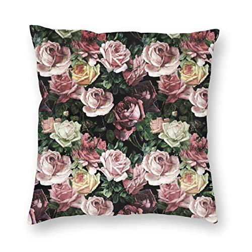 MrRui Dekorativ Kissenbezug Vintage Shabby Chic Dark Retro Floral Roses Pattern Dekokissen Abdeckung Dekorative Schein für Home Bed Sofa Couch 20x20 Inch 50x50cm (Kissenbezug Floral 20 X 20)