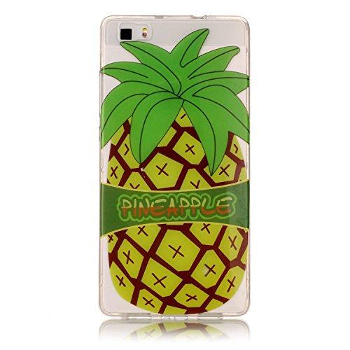 Huawei P8 Lite Hülle, E-Lush TPU Soft Silikon Tasche Transparent Schale Clear Klar Hanytasche für Huawei P8 Lite Durchsichtig Rückschale Ultra Slim Thin Dünne Schutzhülle Weiche Flexibel Handyhülle Kr Big Pineapple