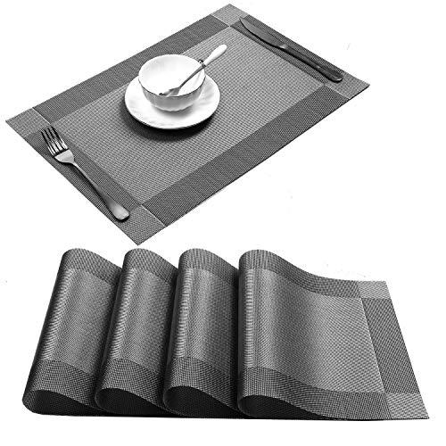 conjunto de 4 manteles individuales de vinilo antideslizante resistente al calor para la mesa de comedor de cocina