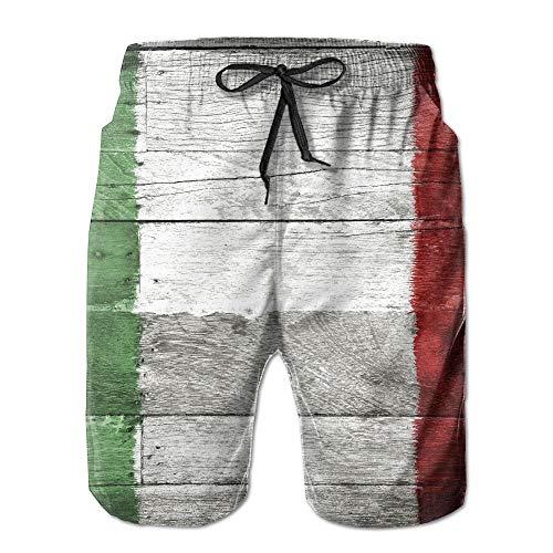 FAVIBES Holz Italien Flagge Quick Dry Lace Boardshort Strand Shorts Hosen Badehose Retro Jungen Badeanzug Mit Taschen,Größe XXL