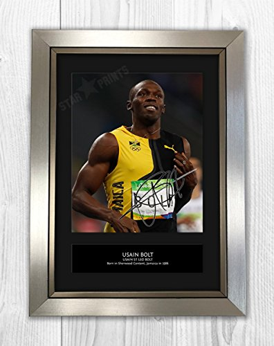 Engravia Usain Bolt 2mt–Signed Autograph Reproduktion Foto A4Print Silver Frame (Bolt Seide)