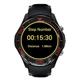 Lemumu S1 Plus SmartWatch mit Bluetooth GPS-Navigation Fitness Tracker Herzfrequenzsensor Unterstützung der 3G-SIM-wlan Wasserdicht für iOS Android APP, Schwarz