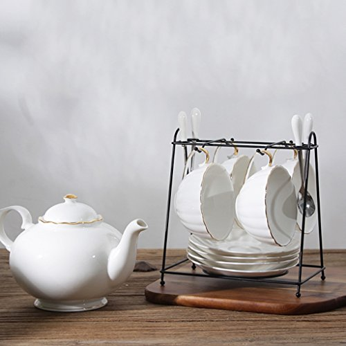 Ensemble de thé en céramique simple / Coupe et soucoupe / Ensemble de thé l'après-midi / Ensemble de 4 pièces (4 couleurs facultatives) ( couleur : D )