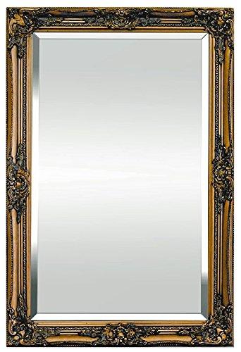 Specchio in stile shabby chic - legno massello - fatto a mano - barocco - grandi - 90x60 cm - oro antico - rococo