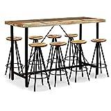 Festnight 9-TLG. Bar-Set aus Massives Altholz Bartisch Barhocker Holz Barset inkl. 1 Stehtisch und 8 Hocker Esszimmergarnitur