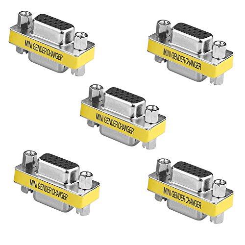 Sienoc Gender Changer HD15F HD15F 15 Pin VGA SVGA Monitor D-SUB Geschlecht Konverter Buchse auf Buchse 5 Stück -