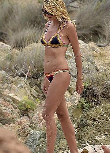 Minetom Badeanzug Badekleid Sommer Damen Bikini Set Zweiteilig Bademantel Bademode Swimsuit Swimwear Sexy Low Taille Crochet Getrimmten Schwarz1