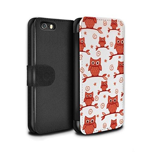 Stuff4 Coque/Etui/Housse Cuir PU Case/Cover pour Apple iPhone SE / Bleu/Blanc Design / Motif Hibou Collection Rouge/Blanc