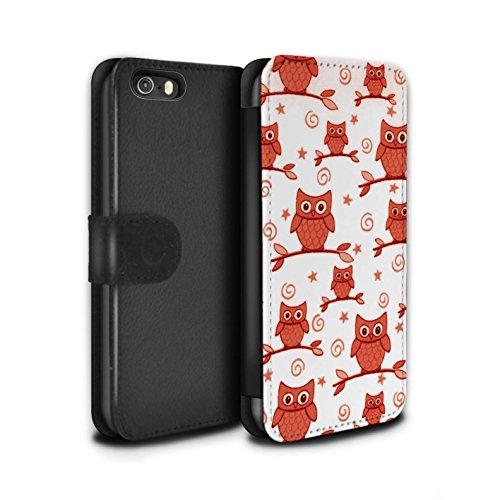 Stuff4 Coque/Etui/Housse Cuir PU Case/Cover pour Apple iPhone 5/5S / Rouge/Blanc Design / Motif Hibou Collection Rouge/Blanc