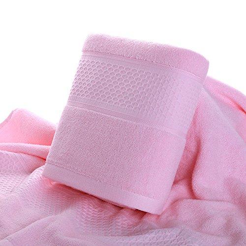 DANCICI Badetuch Baumwolle Verdickung dicken Streifen weichen und bequemen Paar Wasseraufnahme Aufnahme Haare Bad Handtuch breiten Satin Badetuch, rosa Rosa