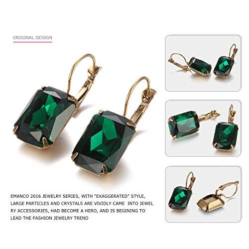 eManco Hebel Zurück Smaragd-Grün Kristall Ohrringe Ohrhänger für Damen Frauen Edelstein Mode Schmuck -