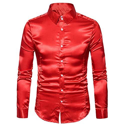 Herren-Hemd - Slim-Fit - Bügelleicht Slim Fit Seidensticker Herren Business Hemd Slim Fit - Bügelfreies, Sehr Schmales Hemd mit Kent-Kragen - Langarm G-Red M