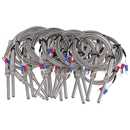 BQLZR Argenté 5x 50mm K type de capteur de température thermocouple câble 2metres de plage de mesure -100~–1000° Lot de 20