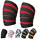 """Power Weight Lifting Knee Wraps Lifter Lifting Wraps 74"""" long and 3"""" wide Elasticated Knee Straps Strengthen Training Workout Home gym Training wrap (White-Black)"""