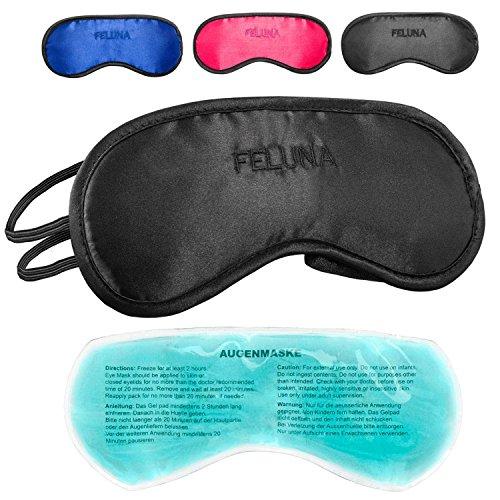 Feluna Premium Schlafmaske ★mit Kühlkissen★ auch als Augenmaske zu verwenden; Schlafbrille mit verstellbarem Gummiband und Seiden-Touch - Schwarz