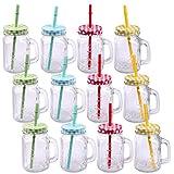 Pack de 12 vasos de cristal con tapa, asa y pajita, 500 ml