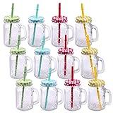 Confezione da Bicchieri con coperchio, con manico e cannuccia Cannuccia Bicchieri in vetro–bicchiere Cocktail 500ML Drinking Jar Vintage Retro per giardino e terrazza
