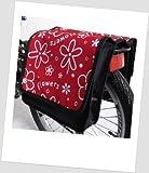 T-JOY-25 Fahrradtasche JOY Flower red 2 Kinderfahrradtasche Satteltasche Gepäckträgertasche 2 x 5 Liter KINDER