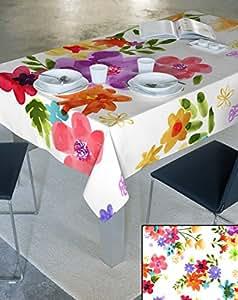 140x180 creme bunt mehrfarbig Blumen 100% Baumwolle Tischdecke Tischtuch ornamente Form fleckgeschützt wasserabweisendes Material pflegeleicht praktisch Blumenmuster Blumenmotive Modern Folk Frühling Daisy