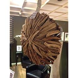 Estilo rústico techo lámpara de techo (Diseño de madera de teca de PTMD Mercur Talla L