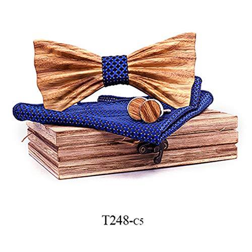 Der vorgebundene Bogen der Männer 3D Zebra Holz Massivholz Fliege Krawatte Kragen Blume Holz Fliege Set Massivholz Qualität Holz Fliege Krawatten für Hochzeitsfeier ( Farbe : 5 , Größe : Free size )