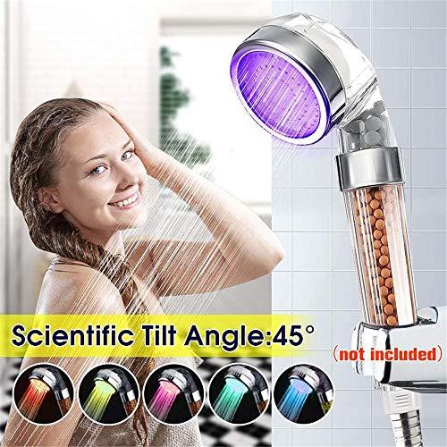 Badezimmer LED-Dusche 7 farbig beleuchtende Farbdüsen Negative Ionen-Phototherapie-Spa-Dusche Verunreinigungen filtern Energieeinsparung bei hohem Druck