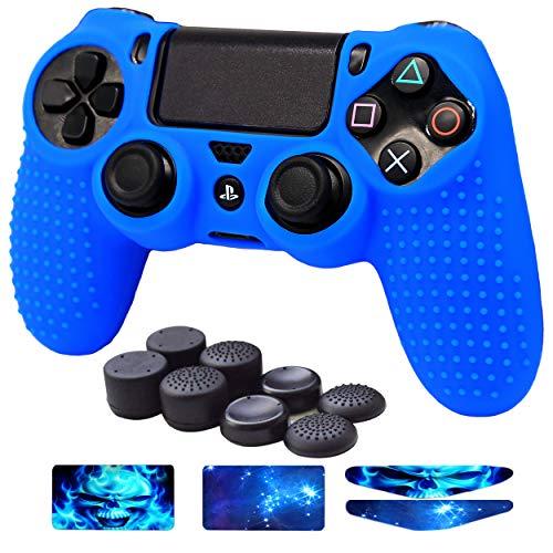 EasyCool Anti-Rutsch-Silikonhülle für PS4 / Slim/Pro Controller (inklusive: Controller-Skin, FPS Pro Daumengriffe, Light-Sticker, Touchpad-Aufkleber) blau blau (Ps4-controller-touchpad-aufkleber)