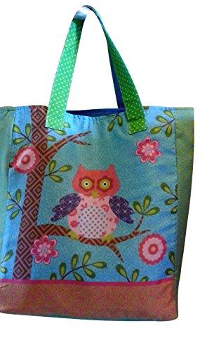 Textil Tasche EULE - Patchwork Design - drei Farben auswählbar - ROT, BLAU, GELB (blau) -