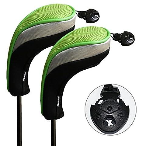 2pcs Andux couvre de tête du club de golf hybride noir et vert interchangeables NO.. tag MT/hy05