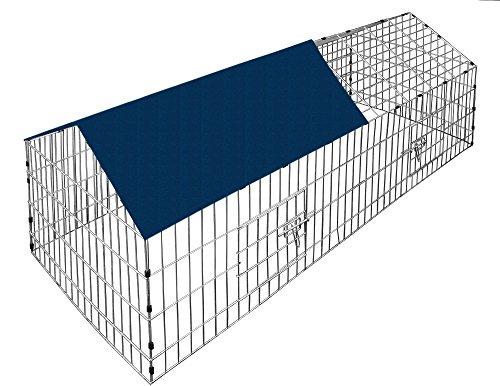 *Kaninchenstall mit Sonnenschutz 180 x 75 cm – Hasenkäfig Freilauf Käfig Gehege Freilaufgitter*