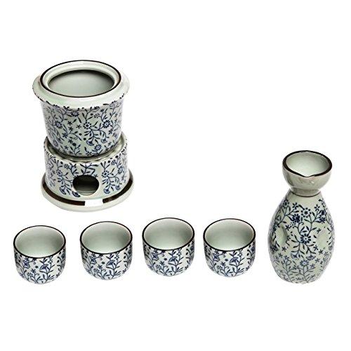 Exquisite Keramik Blumen Japanisches Sake-Set W/4Shot Glas/Cups, Servieren Karaffe & Stövchen Schale blau Sake-becher-set