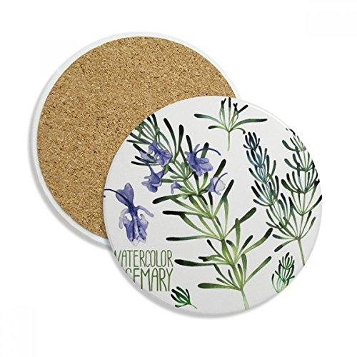 DIYthinker Lila Lavendel-Aquarell-Blumen-Anlage Keramik-Coaster-Schalen-Becher-Halter Absorbent Stein für Getränke 2Pcs Geschenk Mehrfarbig