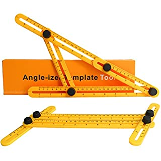 Angle Template Tool[2 Pack],PEMOTech Angle-izer Measuring Template Tool Angle Ruler Layout Tools with Unique Line Level, Prefect for Builders,Handymen,Craftsmen,Engineers(Yellow)