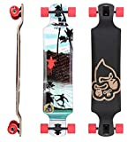 STAR-SKATEBOARDS® Premium Canadian Maple Drop Down Flush Cut Pro Longboard Skateboard für Kinder und Erwachsene auch Anfänger ab ca. 10 - 12 Jahre ★ 75mm Freeride/Long Distance Pushing Edition ★ Surfing Revolution Design