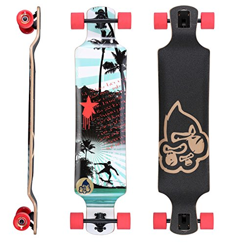 BIKESTAR Premium Canadian Maple Drop Down Flush Cut Pro Longboard Skateboard für Kinder und Erwachsene auch Anfänger ab ca. 10 - 12 Jahre ★ 75mm Freeride/Long Distance Pushing Edition ★ Surfing Revolution Design